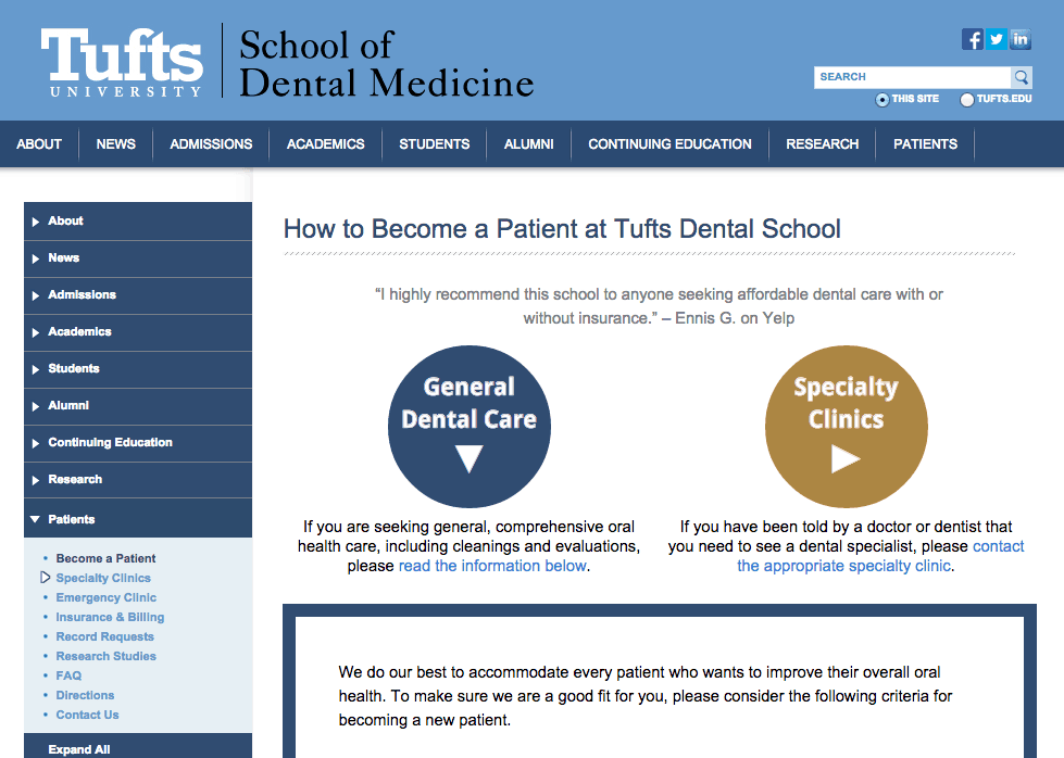 Tufts dental clinic boston - White oaks body shop