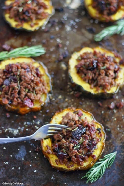 Ground Beef and Cranberry Stuffed Acorn Squash