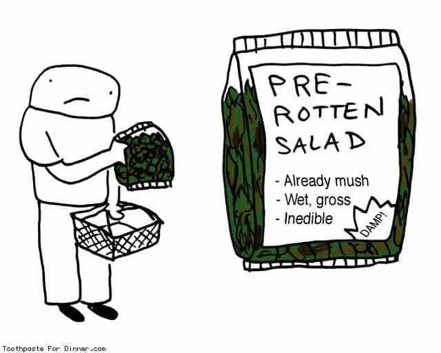 salad lettuce bag wilt