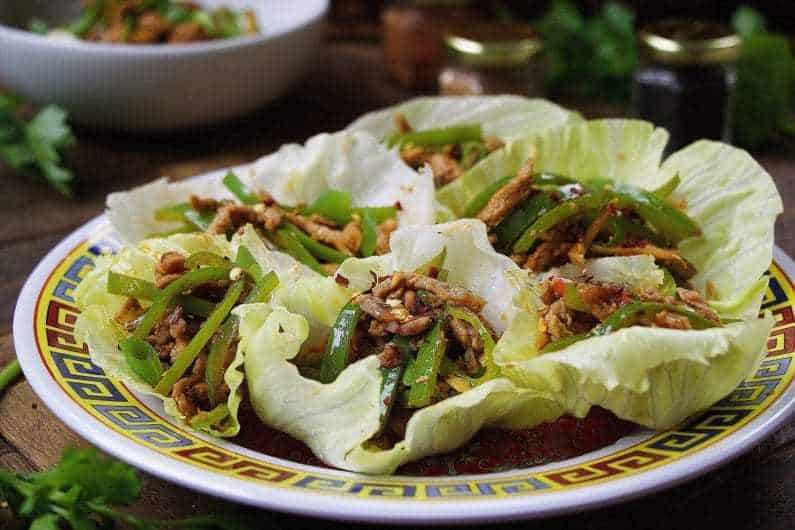 Chinese Spicy Pepper Pork Lettuce Wraps