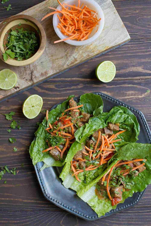 Slow Cooker or Instant Pot Thai Beef Lettuce Wraps