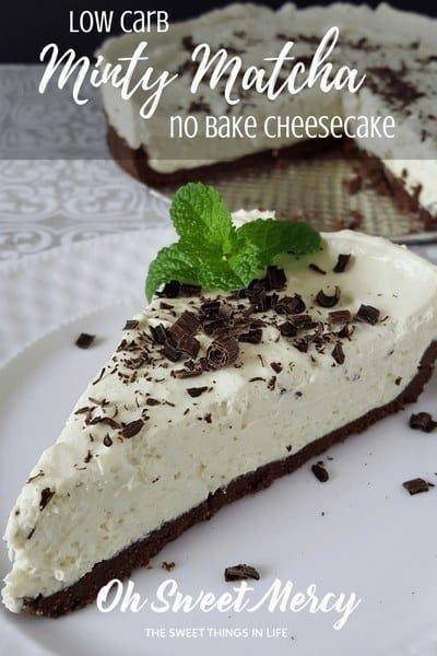 low-carb-minty-matcha-no-bake-cheesecake