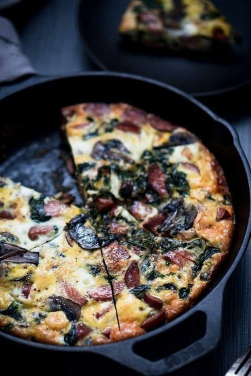 whole30-smoked-sausage-frittata-recipe-with-spinach-mushroom