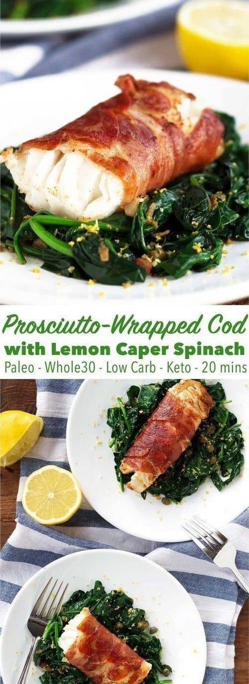 prosciutto-wrapped-cod-with-lemon-caper-spinach