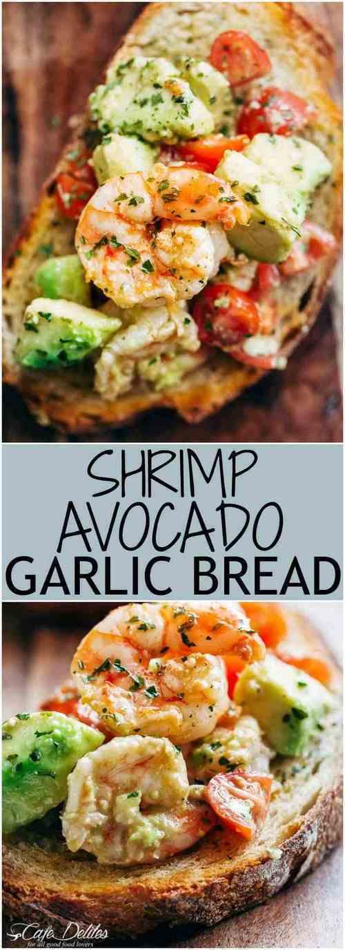 shrimp-avocado-garlic-bread