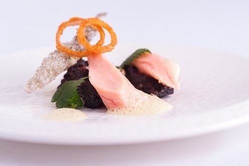 Sous-Vide-Rainbow-Trout-with-Black-Pudding-and-Mustard-Foam