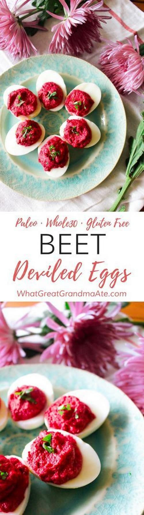 Whole30 Beet Deviled Eggs