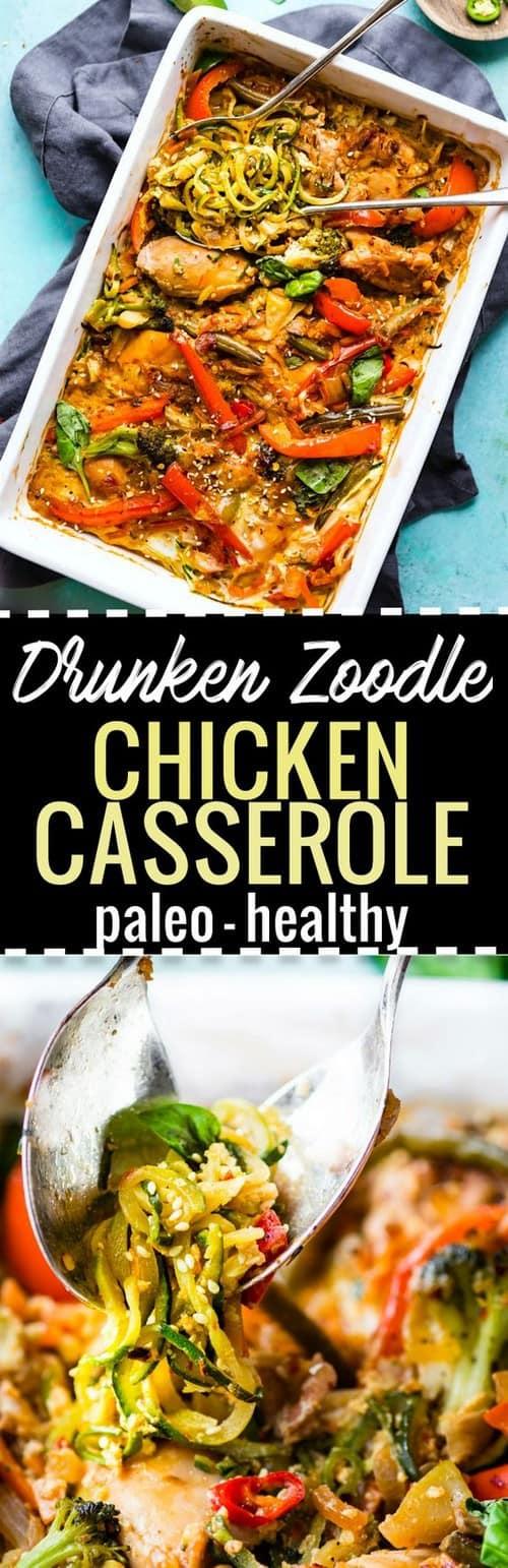 Whole30 Drunken Chicken Zoodle Casserole