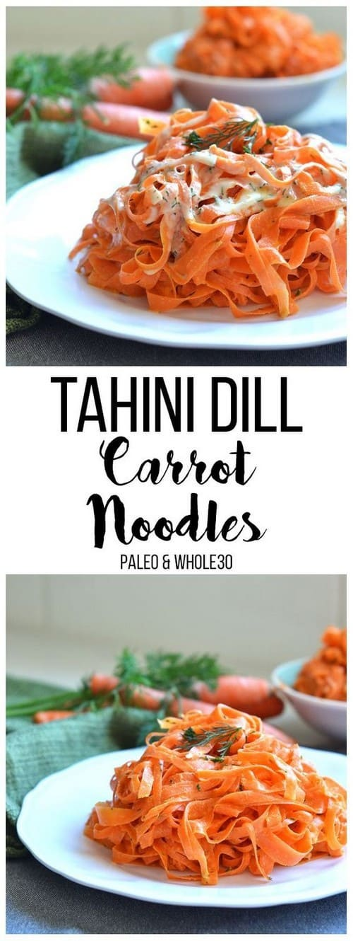 Whole30 Tahini Dill Carrot Noodles