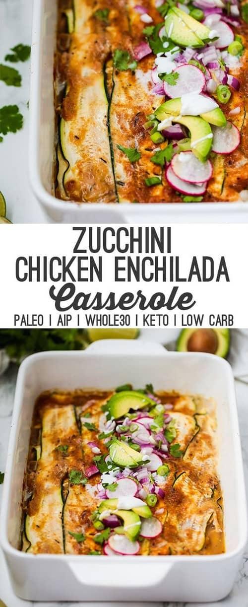 Whole30 Zucchini Chicken Enchilada Casserole
