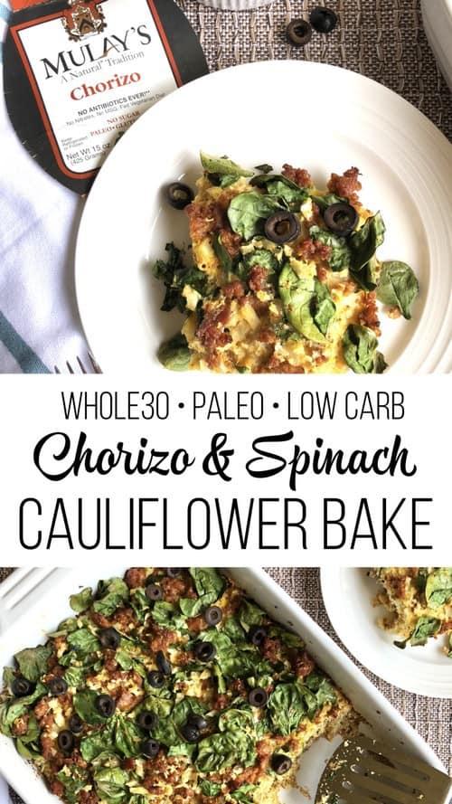 chorizo-spinach-cauliflower-bake