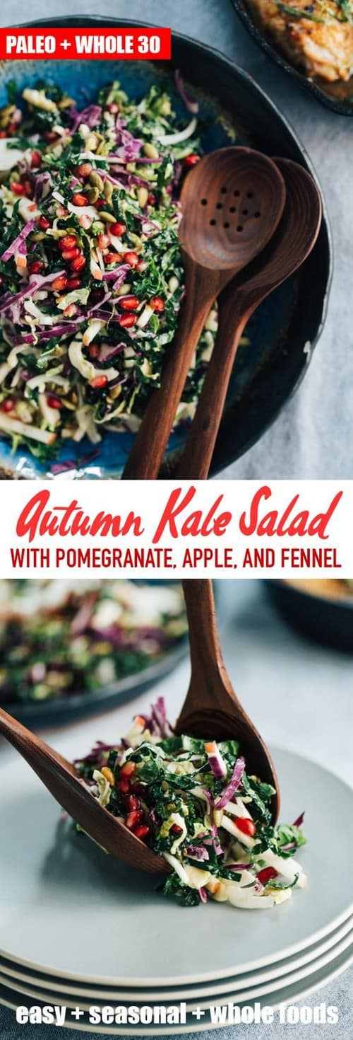 Whole30 Kale Pomegranate Salad with Apple, Fennel and Pepitas