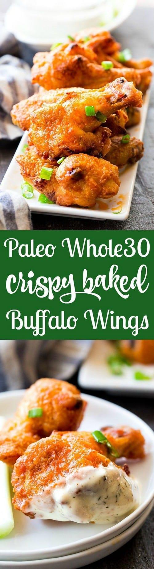 Paleo & Whole30 Crispy Baked Buffalo Wings
