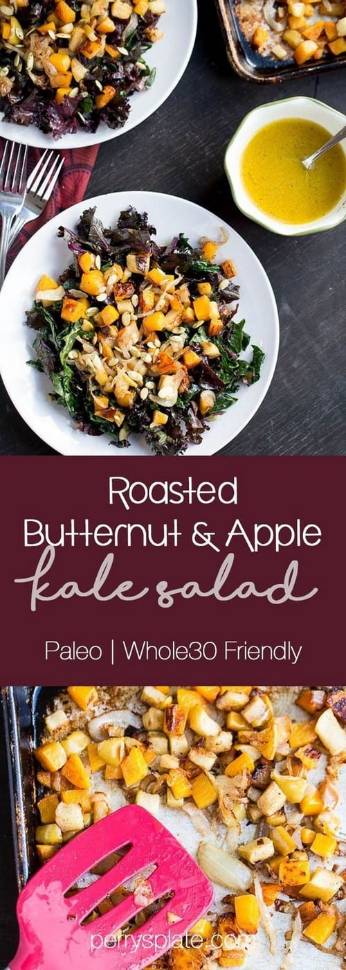 Whole30 Kale Salad with Roasted Butternut Squash and Apples