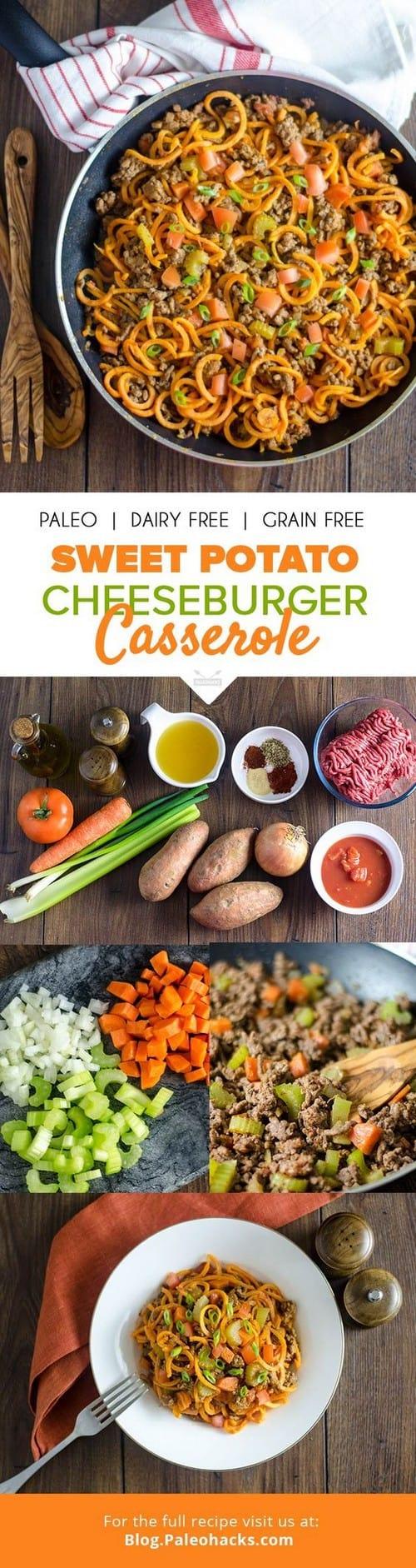 Whole30 Sweet Potato Cheeseburger Casserole