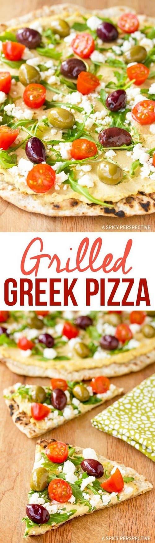 Mediterranean Grilled Greek Pizza