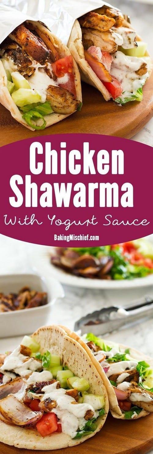 Mediterranean Chicken Shawarma with Yogurt Sauce