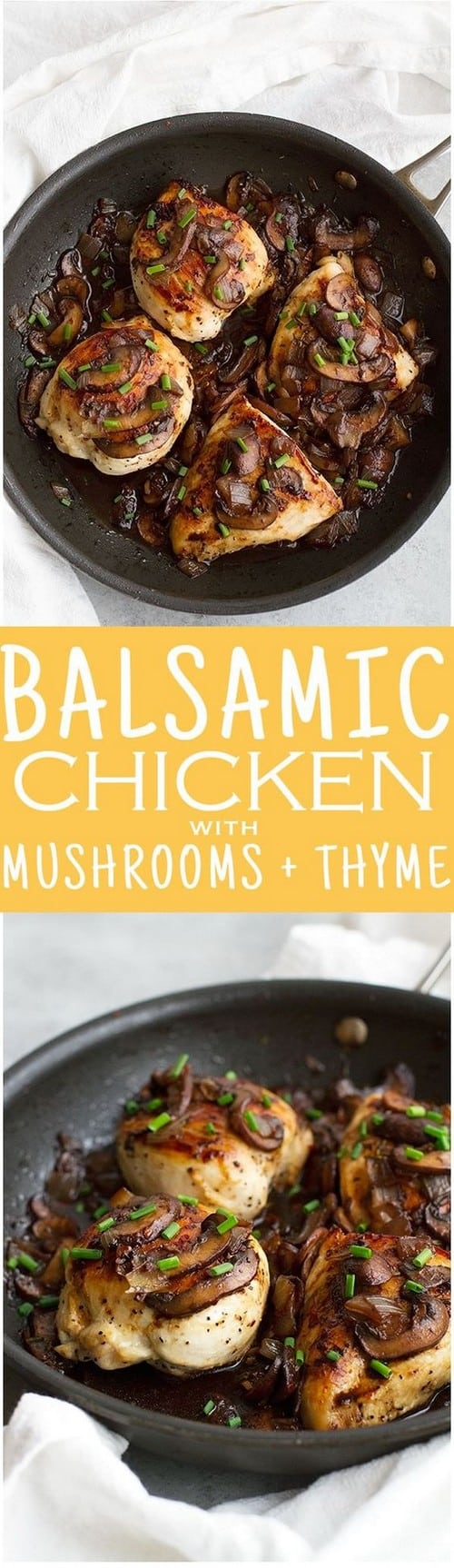Mediterranean Balsamic Chicken with Mushrooms and Thyme