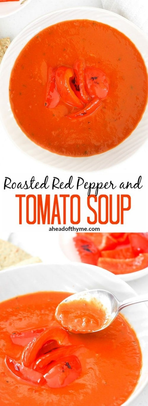 Mediterranean Roasted Red Pepper and Tomato Soup