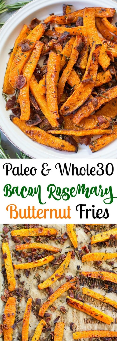 Whole30 Rosemary Bacon Butternut Squash Fries