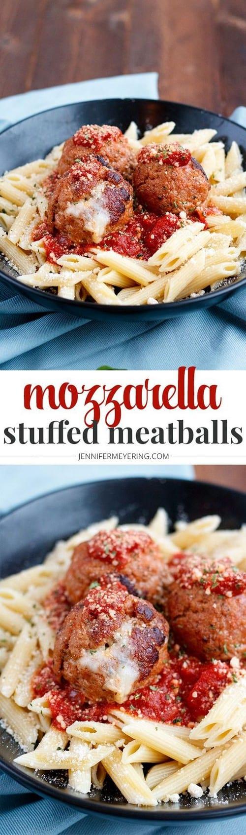 Mediterranean Mozzarella Stuffed Turkey Meatballs