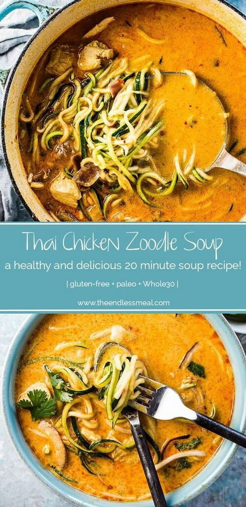 Whole30 Coconut Thai Chicken Zoodle Soup