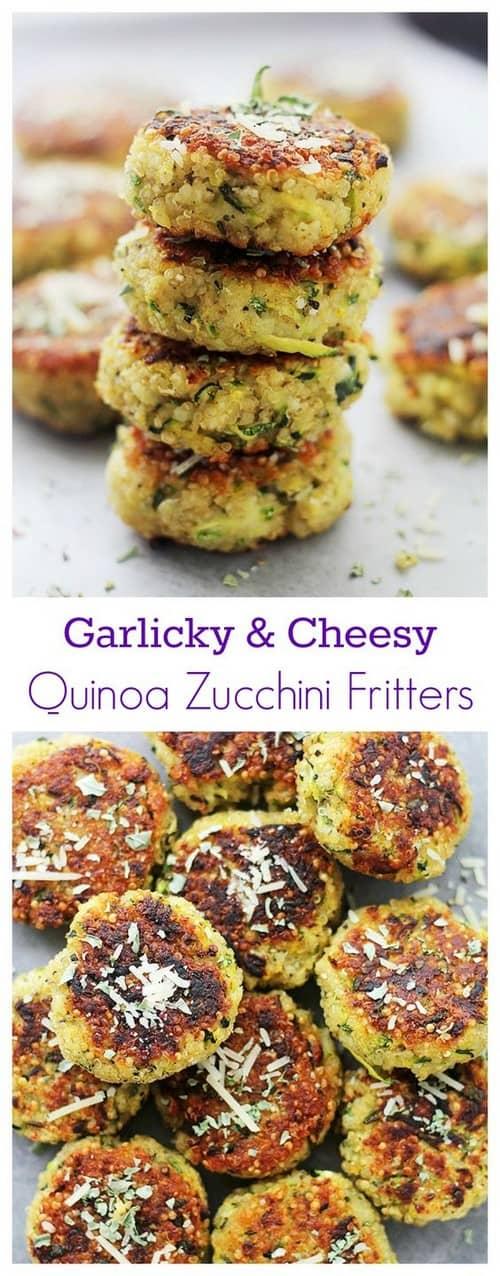 Mediterranean Garlicky & Cheesy Quinoa Zucchini Fritters