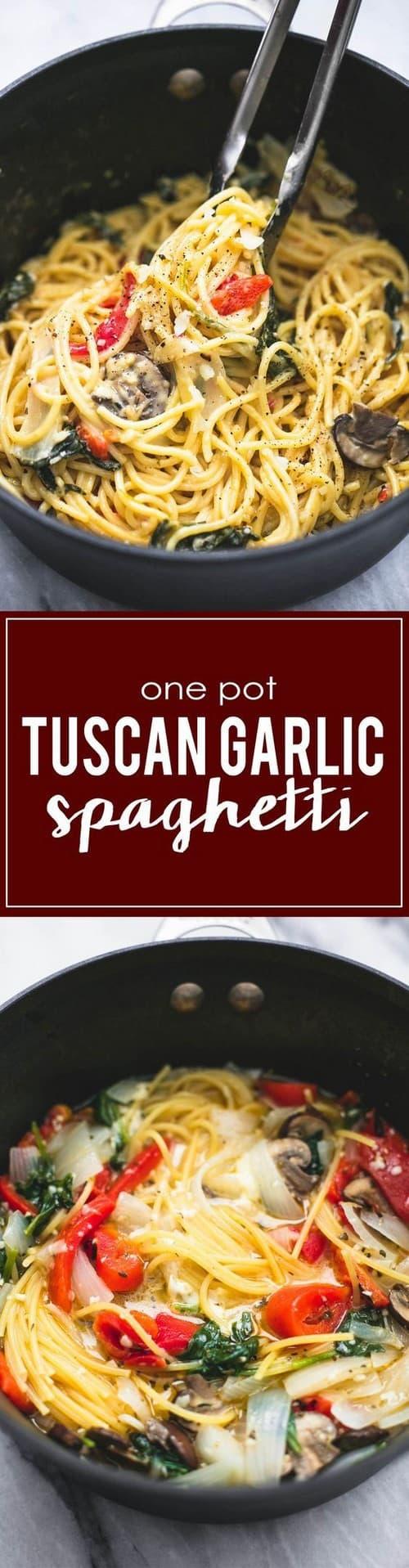 Mediterranean One Pot Creamy Tuscan Garlic Spaghetti