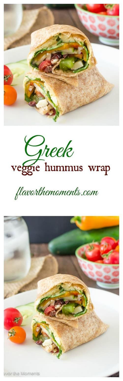Mediterranean Greek Veggie Hummus Wrap