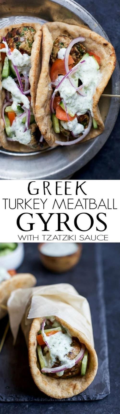 Mediterranean Greek Turkey Meatball Gyros