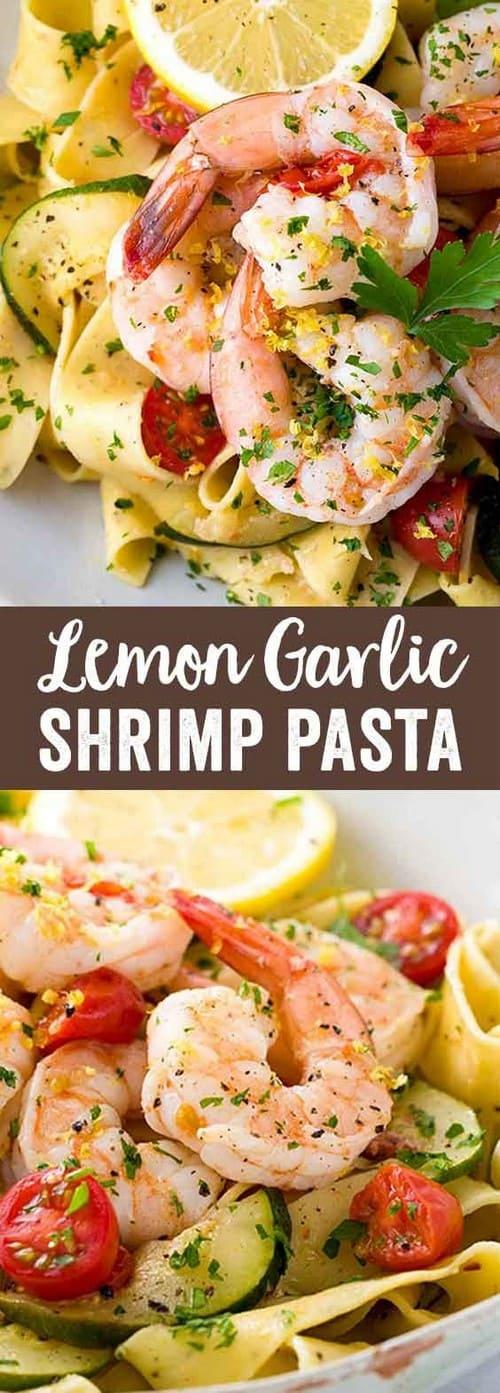 Mediterranean Shrimp Pasta with Lemon Garlic