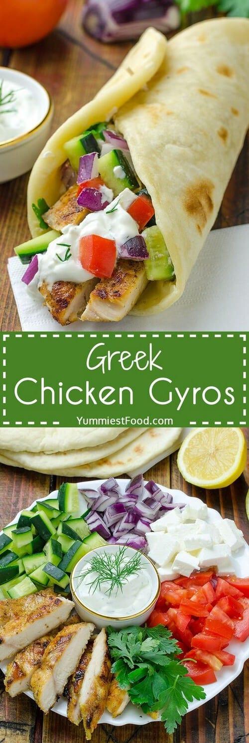 Mediterranean Greek Chicken Gyros