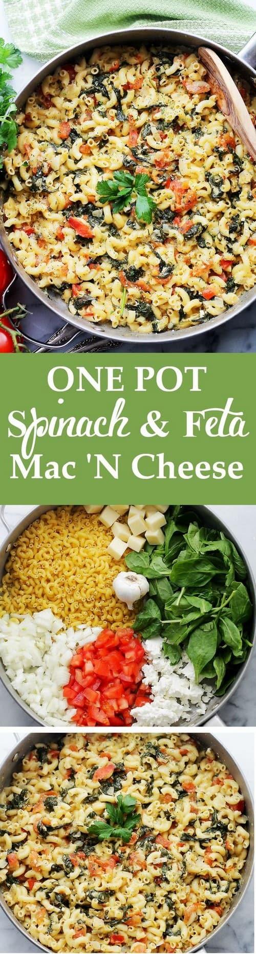 Mediterranean One Pot Spinach & Feta Macaroni and Cheese