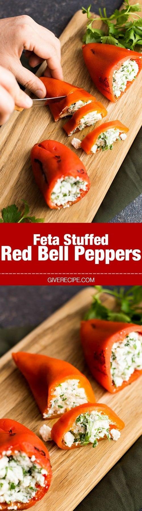 Mediterranean Feta Stuffed Red Bell Peppers