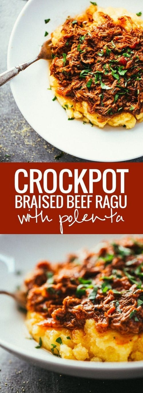 Mediterranean Crock-Pot Braised Beef Ragu with Polenta