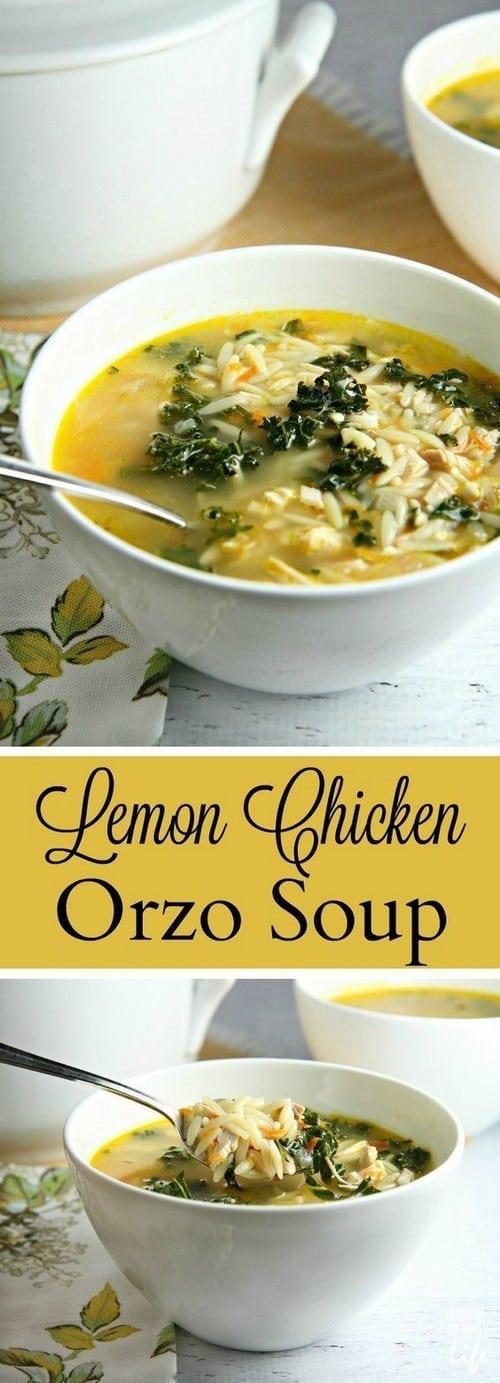 Mediterranean Lemon Chicken Orzo Soup