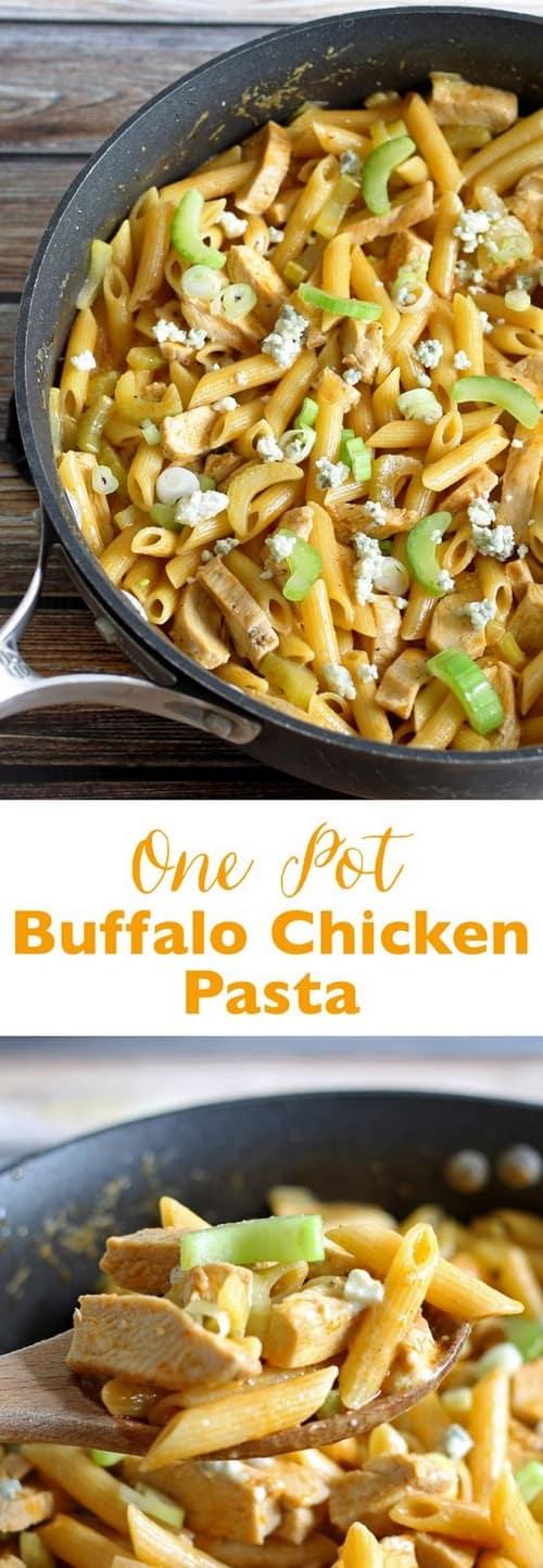 Mediterranean One Pot Buffalo Chicken Pasta