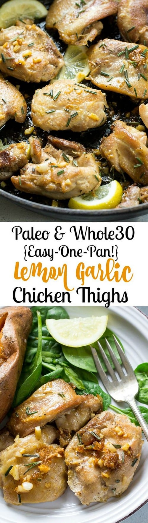 Whole30 Easy Lemon Garlic Chicken Thighs