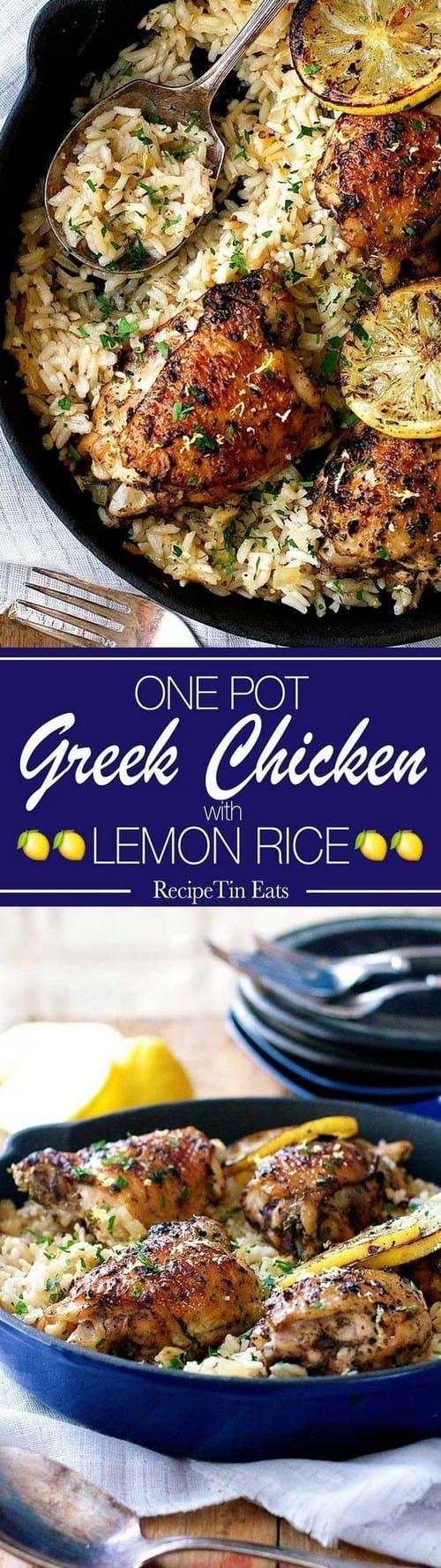 Mediterranean One Pot Greek Chicken & Lemon Rice