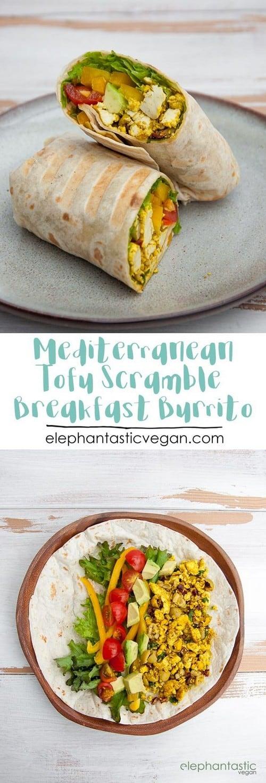 Mediterranean Tofu Scramble Breakfast Burrito