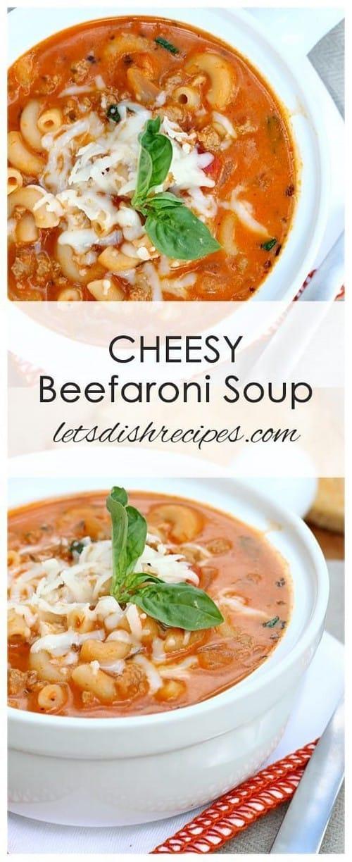 Mediterranean Cheesy Beefaroni Soup