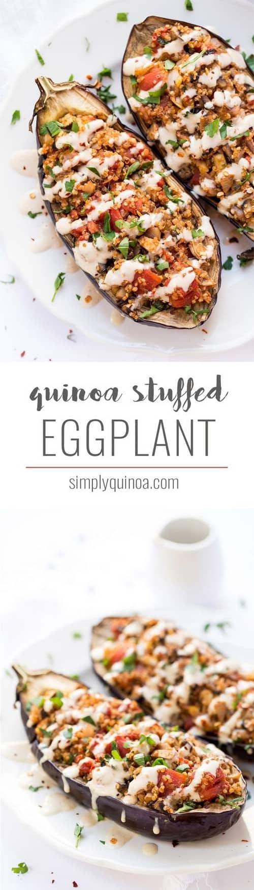 Mediterranean Quinoa Stuffed Eggplant with Tahini Sauce