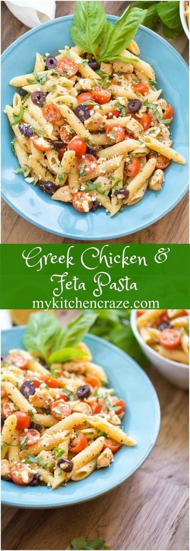 Mediterranean Greek Chicken and Feta Pasta