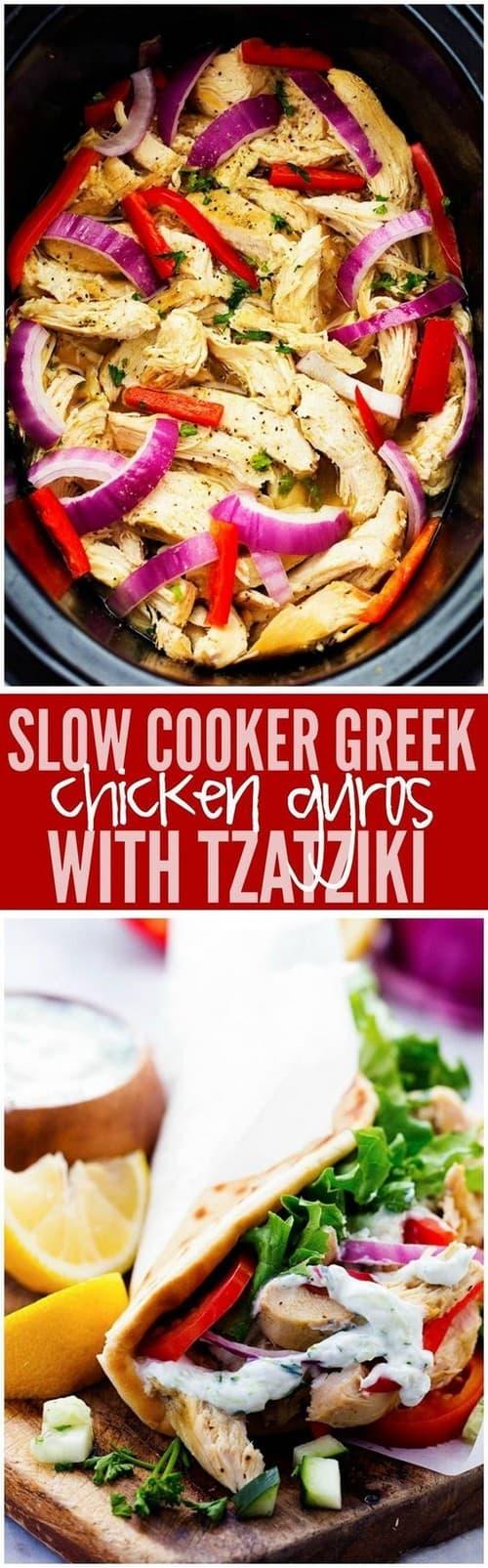 Mediterranean Slow Cooker Greek Chicken Gyros with Tzatziki