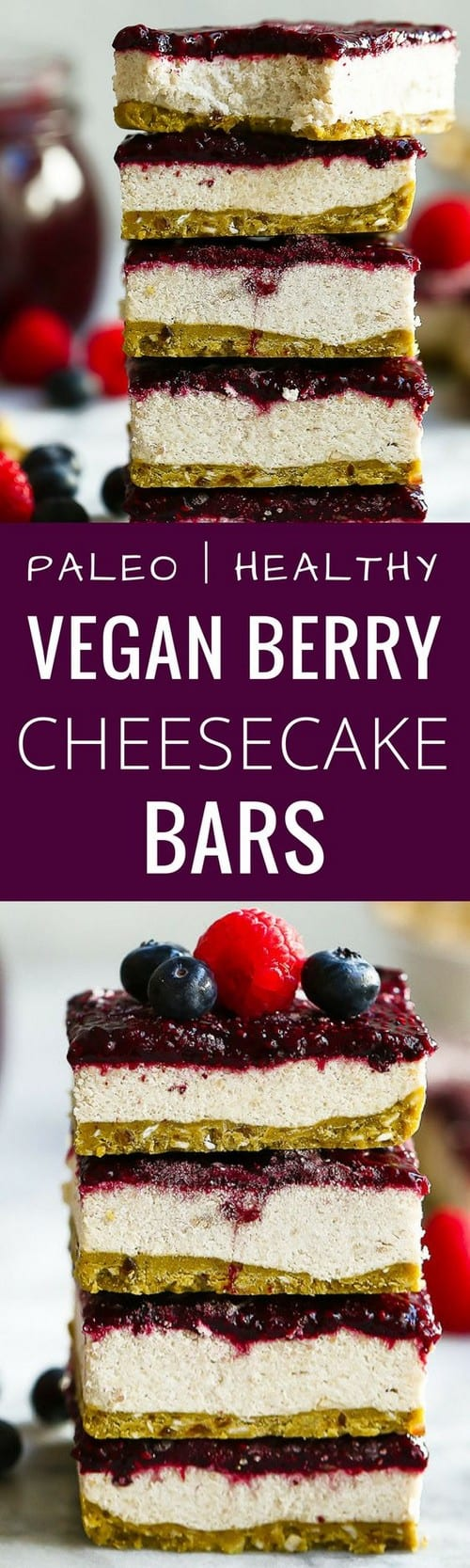 Mediterranean Paleo Vegan Berry Cheesecake Bars