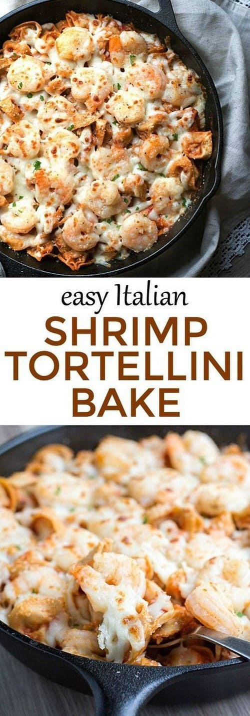 Mediterranean Easy Italian Shrimp Tortellini Bake