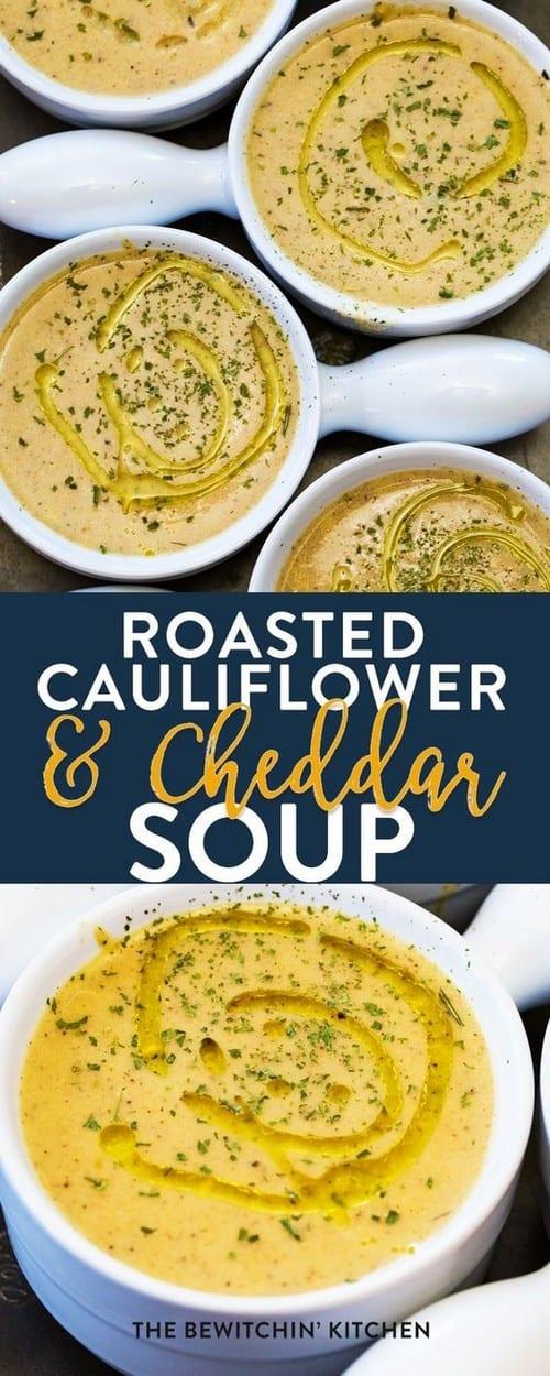 Mediterranean Roasted Cauliflower and Cheddar Soup