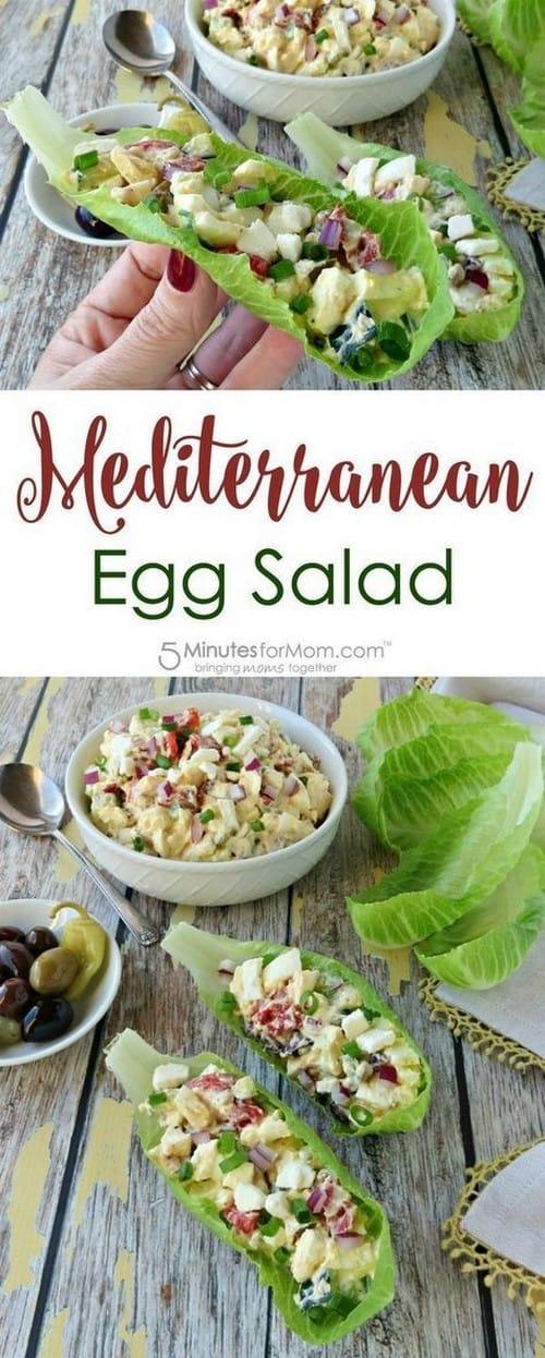 Mediterranean Egg Salad in Lettuce Cups