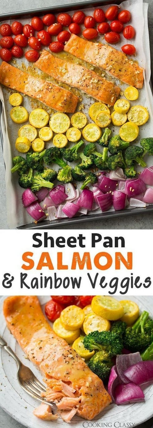 Mediterranean Sheet Pan Honey Mustard Salmon and Rainbow Veggies