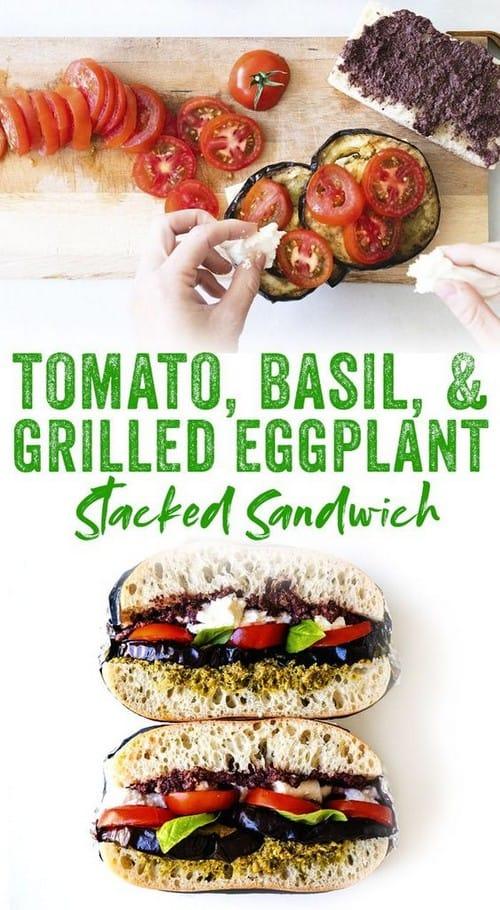 Mediterranean Tomato & Grilled Eggplant Stacked Sandwich